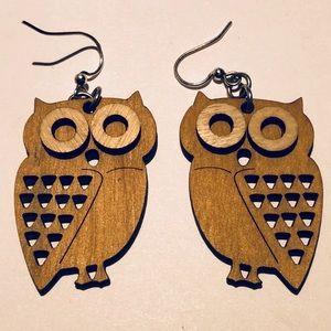 Detailed Wooden Owl Earrings by Leanin' Tree